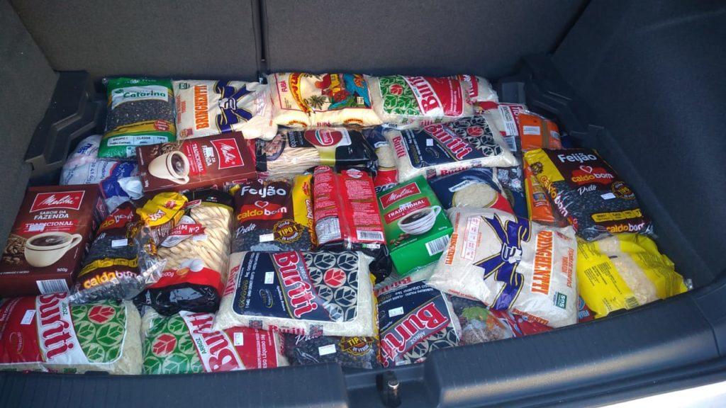 Itens de cesta básica a serem entregues na Cristolândia Paraná