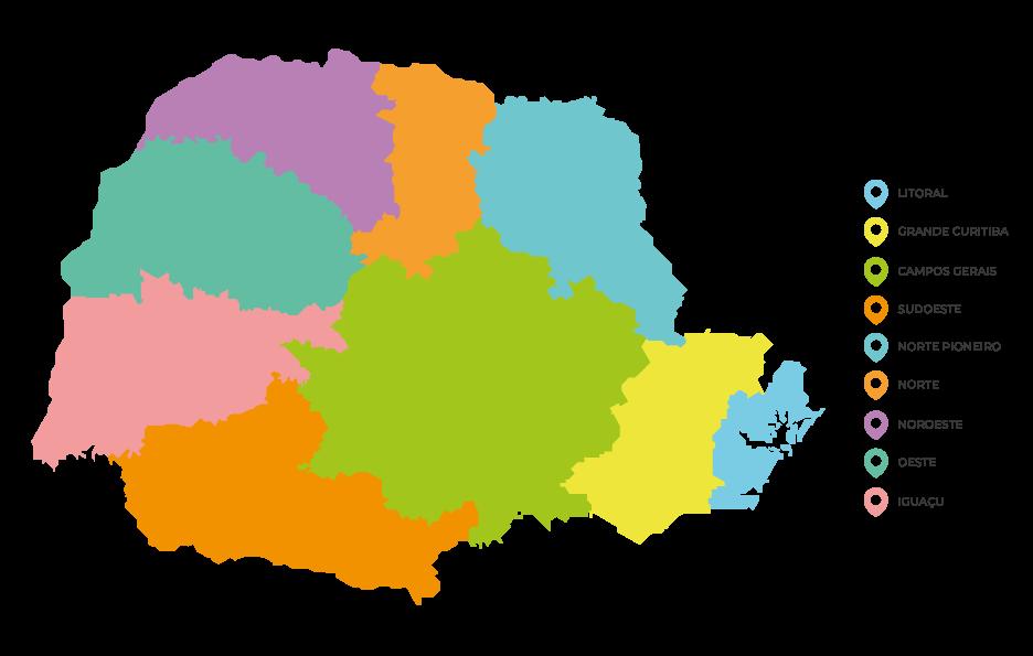 Mapa do Paraná divido de acordo com as associações batistas definidas pela CBP